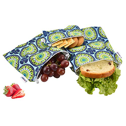 Reusable Snack Bags, Reusable Sandwich Bags-Pack of 3, FDA Passed Food Safe Fabric Snack Bags for Kids, Better Alternative to Single-Use Plastic Bags, Save Money & Protect Environmen - Blooming Flower