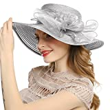 WELROG Women's Derby Church Dress Hat - Wide Brim Floppy Floral Ribbon UPF Protection Wedding Sun Hats(Light Gray)