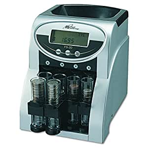 Royal Sovereign Electric Coin Sorter, 2 Rows of Coin Counting,Patented Anti-Jam Technology, Digital Coin Counting Display, Silver (FS-2D)