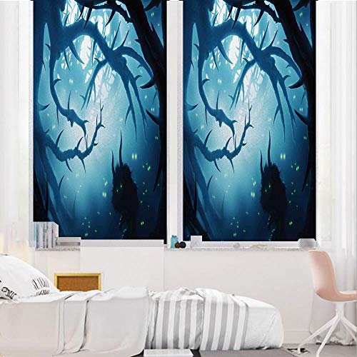 Mystic House Decor 3D No Glue Static Decorative Privacy Window Films, Animal with Burning Eyes in Dark Forest at Night Horror Halloween Illustration,17.7