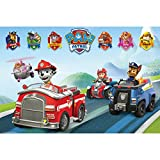 Paw Patrol Official Childrens/Kids Vehicles Maxi Poster (One Size) (Blue/Red)