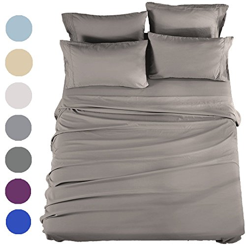 SONORO KATE Bed Sheets Set Sheets Microfiber Super Soft 1800 Thread Count Luxury Egyptian Sheets 16-Inch Deep Pocket Wrinkle Fade and Hypoallergenic - 6 Piece (Queen, Grey)
