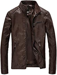 Men's Casual Zip up Slim Bomber Faux Leather Jacket