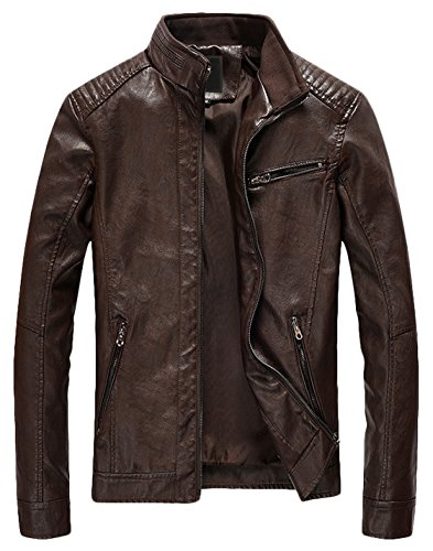 Youhan Men's Casual Zip Up Slim Bomber Faux Leather Jacket (Medium, Coffee) Classic Mens Leather Bomber Jackets