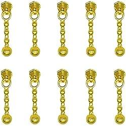 Metal Zipper Sliders 10 Pcs - #3 Zipper Repair Kit, Gold - by Beaulegan