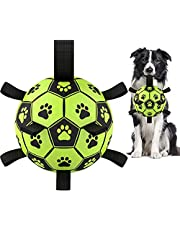 Dog Soccer Ball with Grab Tabs, Upgraded Interactive Dog Toys for Tug of War Dog Toy, Rubber Ball, Dog Water Toy, Herding Ball for Dogs, Funny Dog Toys for Small & Medium Dogs