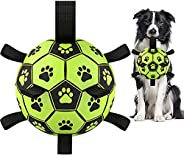 Dog Soccer Ball with Grab Tabs, Upgraded Interactive Dog Toys for Tug of War Dog Toy, Rubber Ball, Dog Water T