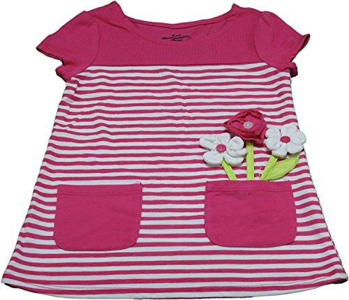 Kids Headquarters Girls Size 4 Flower Shirt, Pink/White Stri