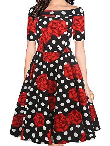(oxiuly Women's Vintage Polka Dot Off Shoulder Pockets Casual Party Cocktail Swing Midi Dress OX232 (XL, BkRDot))