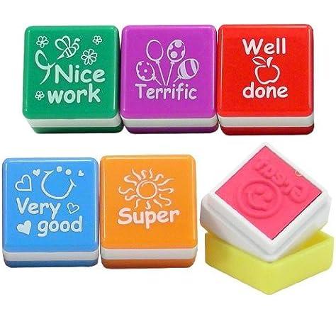 Playwrite - Set de 6 sellos de profesor con mensajes en inglés ...