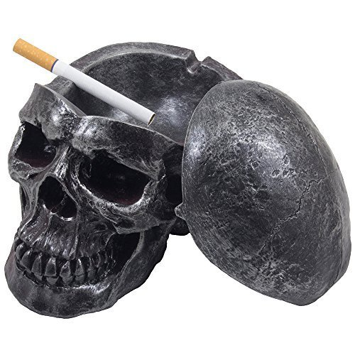Spooky Human Skull Ashtray with Cover for Scary Halloween Decorations and Decorative Skulls & Skeletons Figurines As Gothic Smoking Room Decor Gifts for Smokers by -