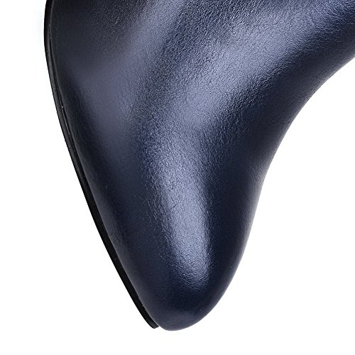 Balamasa Dames Mule Stiletto Rits Imiteerde Lederen Laarzen Donkerblauw