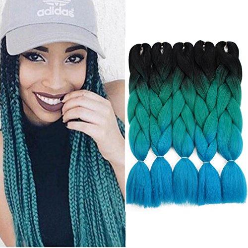Crochet Braids Ombre Jumbo Braiding Hair Extensions Synthetic Yaki Straight 5 Pieces 2 Tone (Black Green Blue) ()