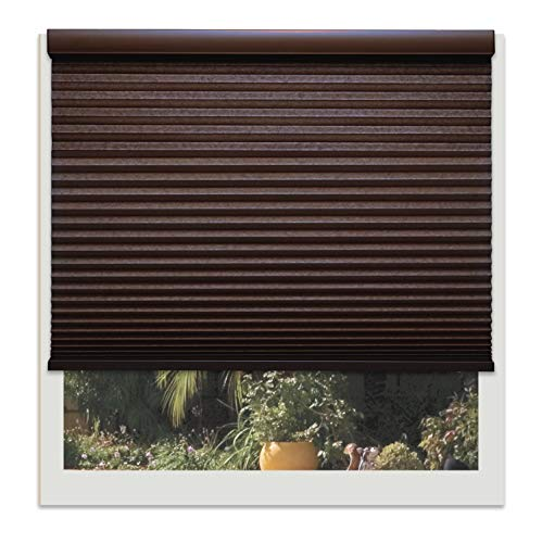 Shade 20 Chocolate - Decor Avenue Custom Cordless 20 W x 48 to 54 H Chocolate Light Filtering Cellular Shade Inside Mount