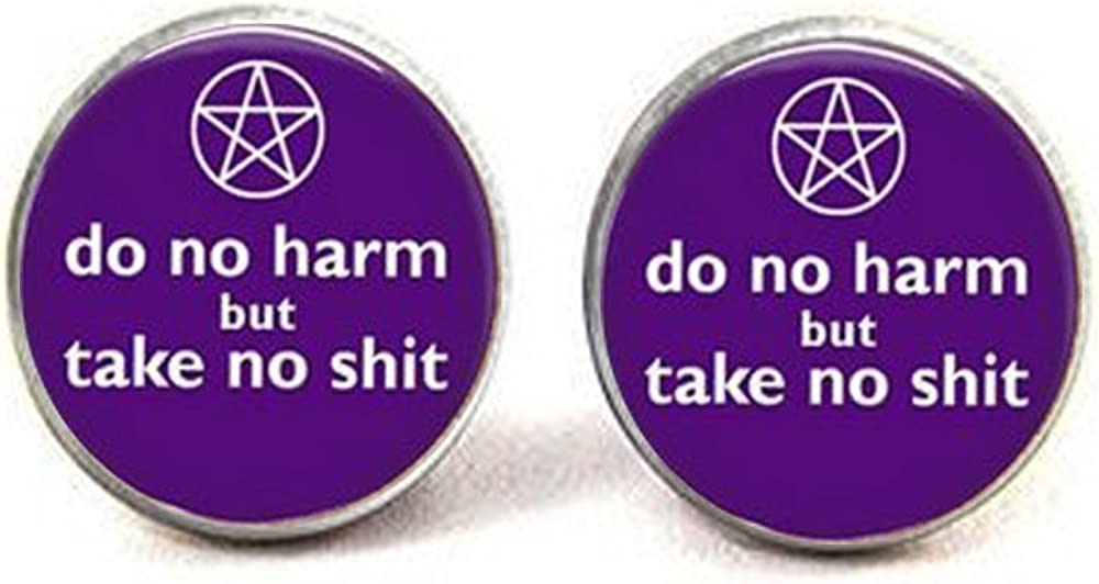 Do No Harm Jewelry Key Chain Wiccan Key Chain Silver Pentacle Key Chain Purple Key Chain