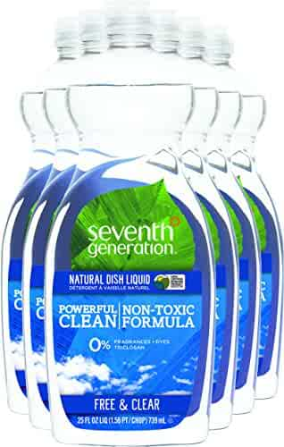 Seventh Generation Dish Liquid Soap, Free & Clear, 25 oz, Pack of 6 (Packaging May Vary)