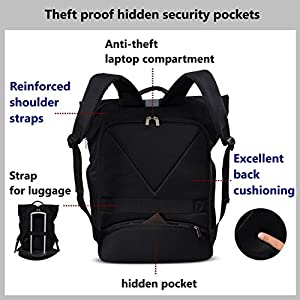 MI6 Anti theft Travel Laptop Backpack Minimalist Rolltop Design Water Resistant TSA Friendly Large Backpack Fits up to 15.6-inch Computer for Business Traveling Work College School Outdoor(Black)
