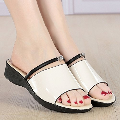 White Women's PENGFEI UK8 Height 5CM Beach Heel Non Slippers White 3 Slip Summer Colors EU43 5 265 Sandals Home US9 3 Size Color Comfortable xwaHrwA