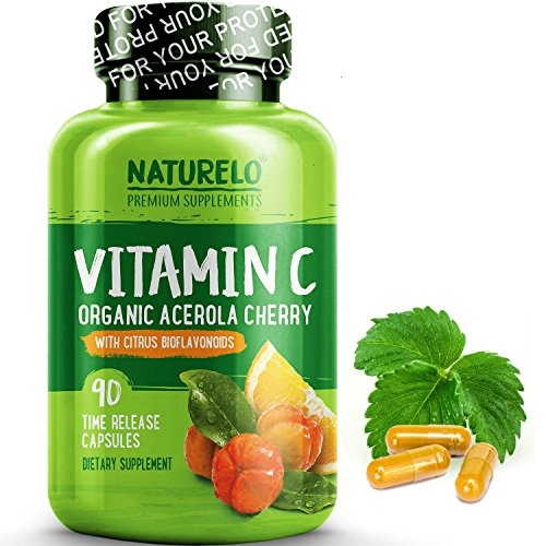(NATURELO Premium Vitamin C with Organic Acerola Cherry and Citrus Bioflavonoids - Whole Food Powder Supplement - Not Synthetic Ascorbic Acid - 500 mg - Non-GMO - Raw Vegan - 90 Capsules)