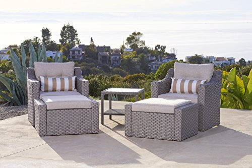Solaura Outdoor 5 Piece Lounge Chair U0026 Ottoman Furniture Set All Weather  Grey Wicker With