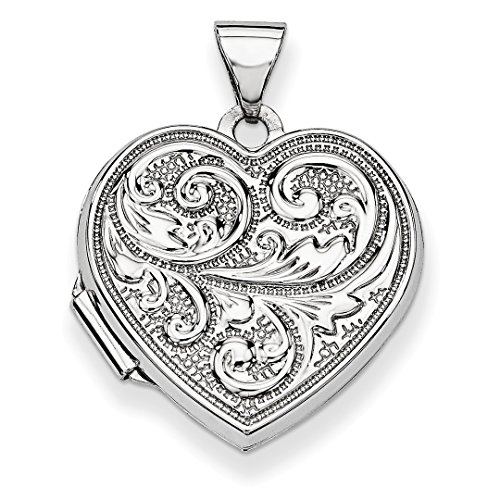 ICE CARATS 14k White Gold Scrolled Love You Always Heart Photo Pendant Charm Locket Chain Necklace That Holds Pictures Fine Jewelry Ideal Mothers Day Gifts For Mom Women Gift Set From Heart by ICE CARATS