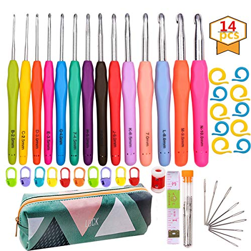 14 Pcs Crochet Hook Set Ergonomic Soft Grip Handles for Extreme Comfort Yarns Knitting Needles Kit with Case for Arthritic Hands 2mm(B) - 10mm(N) Extra Long Needles Knit