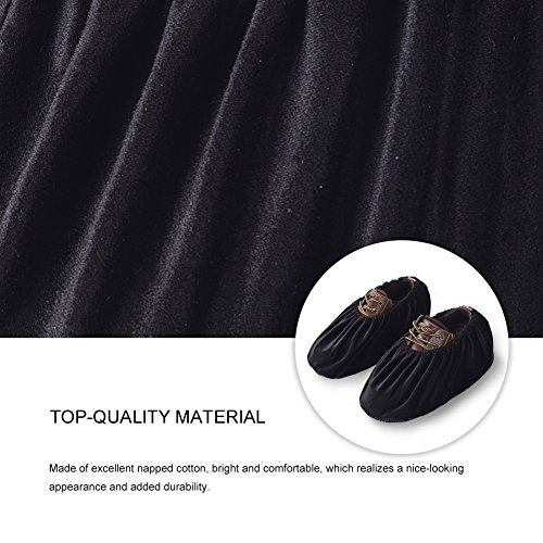 Uarter Reusable Booties Shoe Covers 5 Pairs, Anti Slip Boot Shoe Covers with Elasticity Convenience for Indoor, Contractors and Carpet Floor Protection, Machine Washable, Black by Uarter (Image #4)