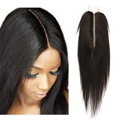 SingleBestHair Lace Closure Human Hair Silky Straight 2x6 Middle Part Closure with Baby Hair 100% Unprocessed Brazilian Virign Remy Hair Natural Color (8 inches)