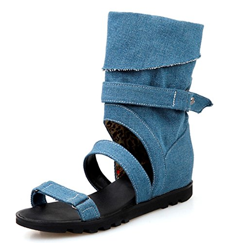 Blue Sexy News Women Ankle Deep Fashion Wrap Heeled Leisure Footwear Summer LongFengMa Heels Falt Shoes Sandals Ladies Ha04AwTq