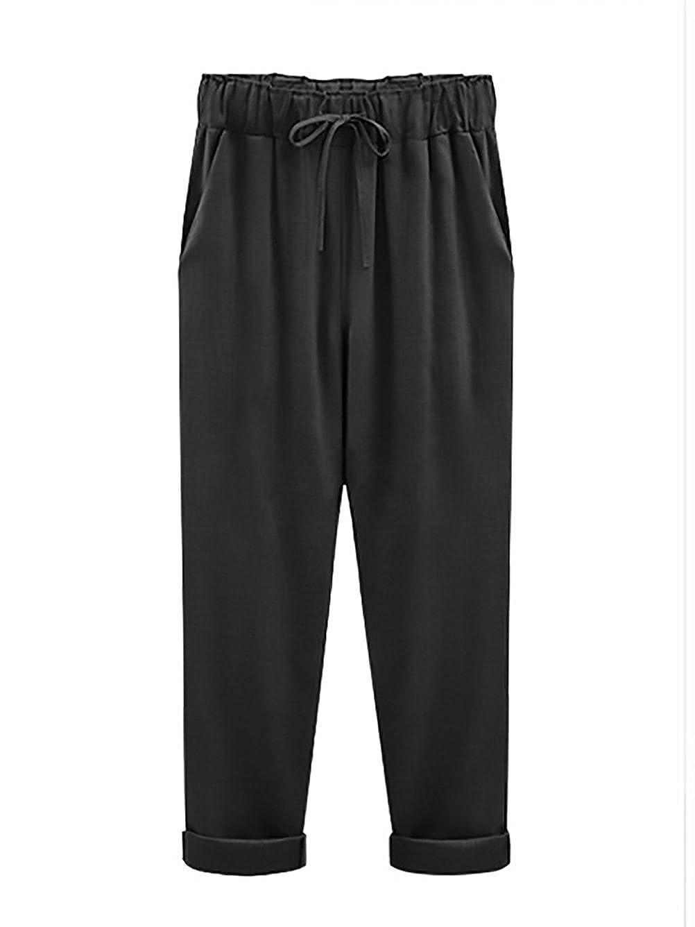 Pantalone Donna Eleganti Grazioso Moda Puro Colore Casual Taglie Forti  Baggy Comode con Elastico in Vita Pantaloni Lino  Amazon.it  Abbigliamento 11b7f1c2d6a