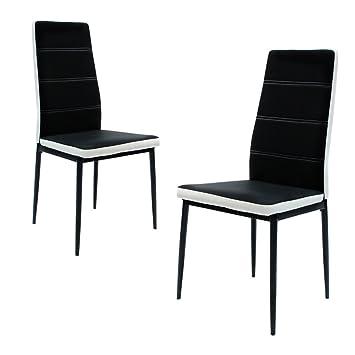 fancy-fix Stühle Esszimmer Wohnzimmerstuhl Esszimmerstuhl Eleganter Modern  mit extra hoher und ergonomischer Rückenlehne in Schwarz-Weiß - ...