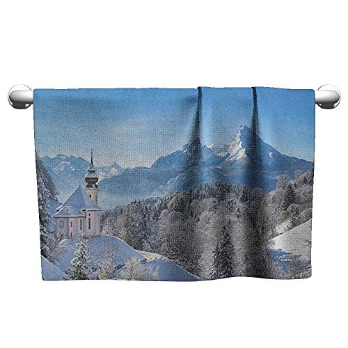 xixiBO Bathroom Towel W24 x L8 Winter,Snowy Bavaran Alps with Maria Gern with Famous Watzmann Massif Scenes from Germany, Blue White Water Absorption Multi-Purpose