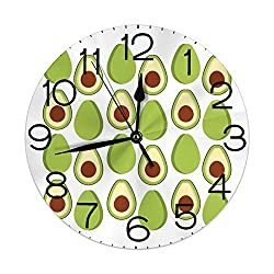 GULTMEE Round Wall Clock Home Decorative, Fruit Summer Healthy and Organic Food Themed Colorful Design for Living Room Office Bedroom
