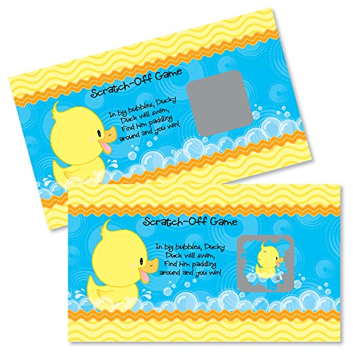 Big Dot of Happiness Ducky Duck - Baby Shower or Birthday Party Game Scratch Off Cards - 22 Count -