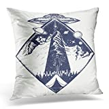 UFO Tattoo and Invasion of Aliens Kidnap Human Mystical Symbol Paranormal Phenomena First Contact Decorative Pillow Case Home Decor Square 18x18 Inches 45cm