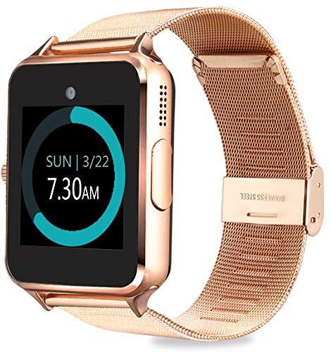 MyTECH Z60 Smart Watch Bluetooth Steel Strap Touchscreen with Camera, Watch Phone Sim Card Slot,Smart Wrist Watch,Smartwatch Phone Compatible Android Samsung iOS Phone XS X8 Men Women Kids (Gold)