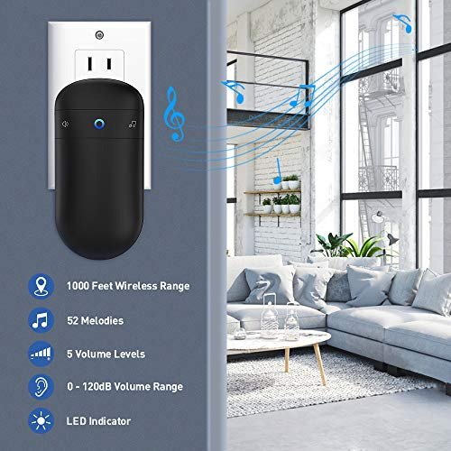 Wireless Doorbell, SECRUI Waterproof Doorbell Operating at 1000 Feet with 52 Chimes, 5 Volume Levels & LED Indicator for Home/Office/Store (2 Push Buttons and 1 Receiver) - Black