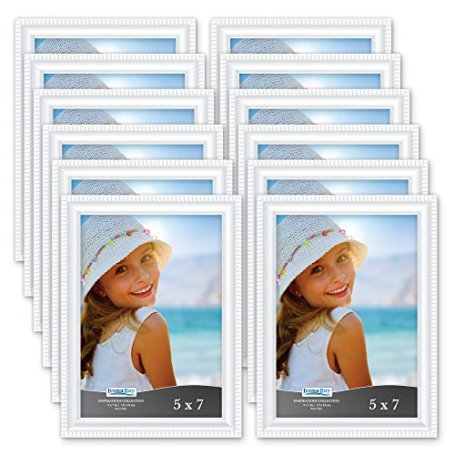 (Icona Bay 5x7 Picture Frames (12 Pack, White) Picture Frame Set, Wall Mount or Table Top, Set of 12 Inspirations Collection)