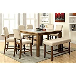 Furniture of America Lucena 8-Piece Transitional Pub Dining Set