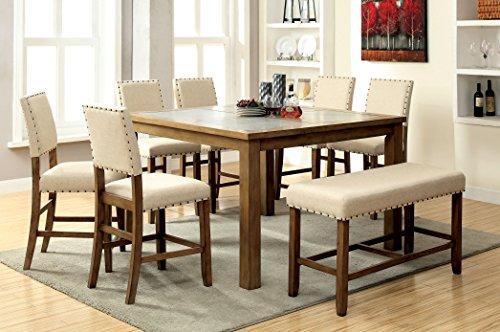 Furniture of America Lucena 8-Piece Transitional Pub Dining Set