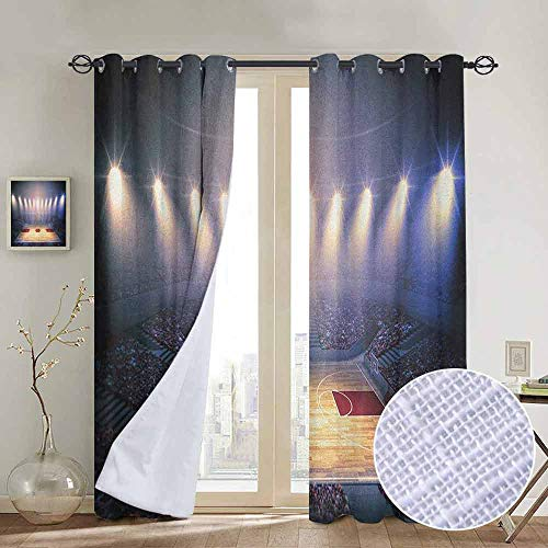 Three Rod Tournament Rack - NUOMANAN Customized Curtains Basketball,Crowded Basketball Arena Just Before Game Starts School Tournament Theme, Beige Nacy Brown,Blackout Draperies for Bedroom Living Room 100