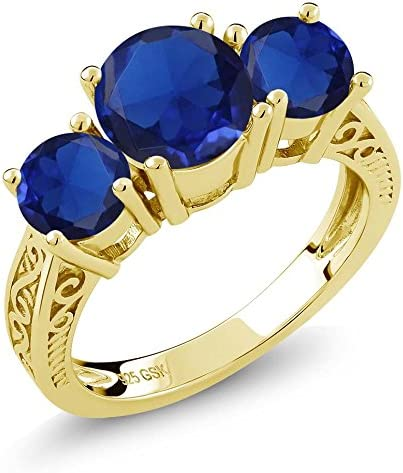 Gem Stone King 0.60 Ct Blue Simulated Sapphire 18K Yellow Gold Plated Silver Mens Solitaire Ring