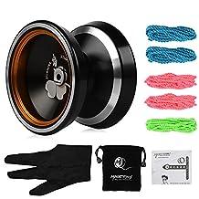 MAGICYOYO Silencer M001-B Yo-yo ball Yo Yo Toy, Aluminum Alloy Professional Yo-yo, with Stainless Center Bearing and Stainless Axle, Contain 5 Strings, Glove and Bag, Black