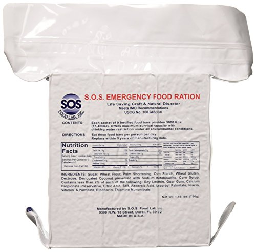 (SOS Food Labs, Inc. 185000825 S.O.S. Rations Emergency 3600 Calorie Food bar - 3 Day/ 72 Hour Package with 5 Year Shelf Life, 5