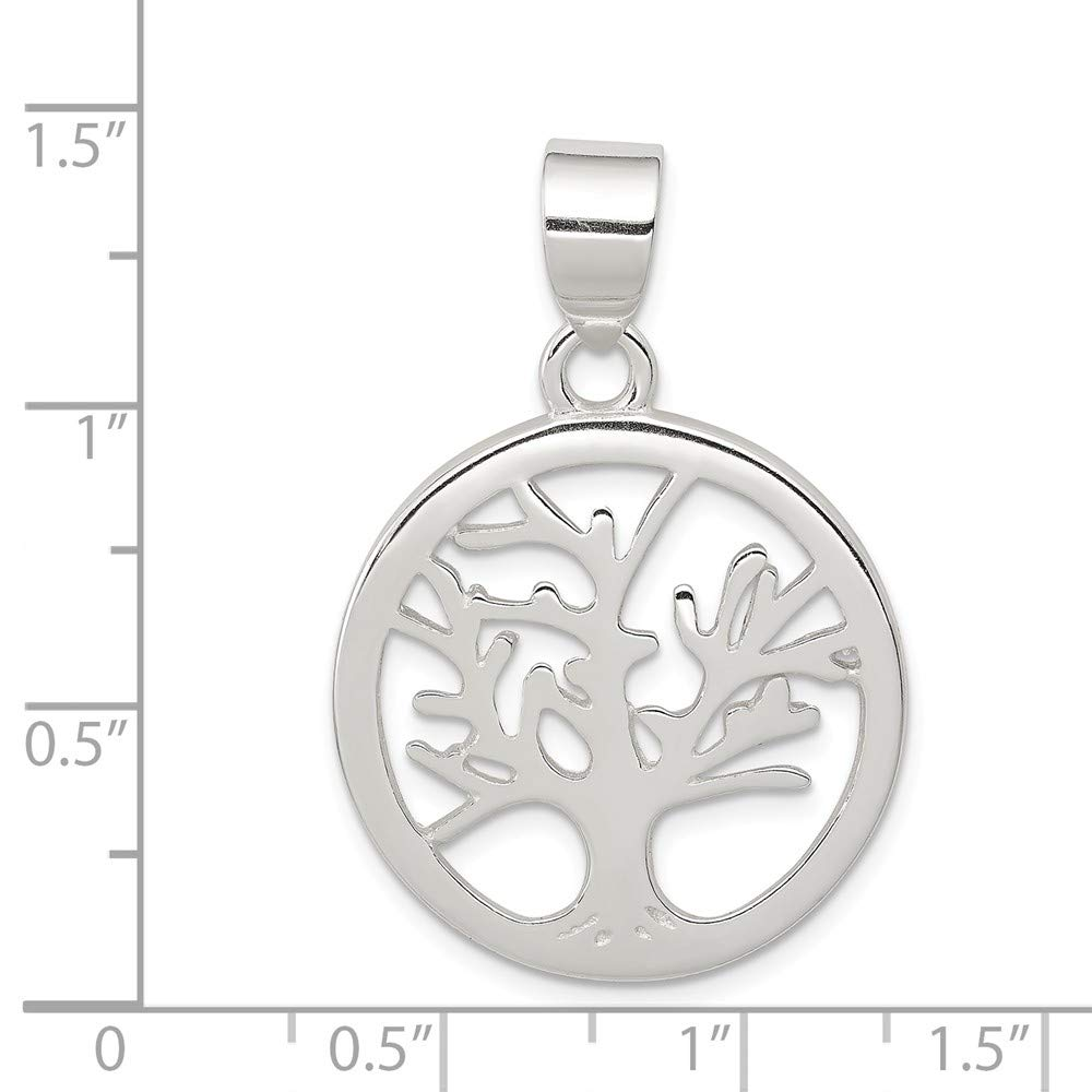 Mia Diamonds 925 Sterling Silver Solid Polished Round Tree Pendant 35mm x 23mm