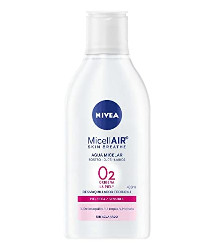 NIVEA MicellAIR Skin Breathe Agua Micelar Piel Seca/Sensible, agua micelar desmaquillante, limpieza
