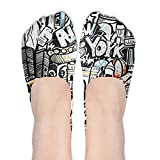 Crazy No Show Socks Women Graffiti Hip-hop Colorful Low Cut Loafers Ankle Socks Women