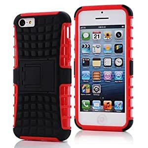 JJE Tough Rugged Hybrid Dual Layer Hard Stand Case Cover for iPhone 5C , White