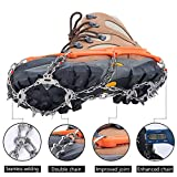 Uelfbaby Upgraded 19 Spikes Crampons Ice Snow Grips Traction Cleats System Safe Protect for Walking, Jogging, or Hiking on Snow and Ice