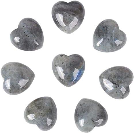 Pack of 8 Natural ite Gemstone Healing Crystal 1 inch Mini Puffy Love Heart Pocket Stone Iron Gift Box
